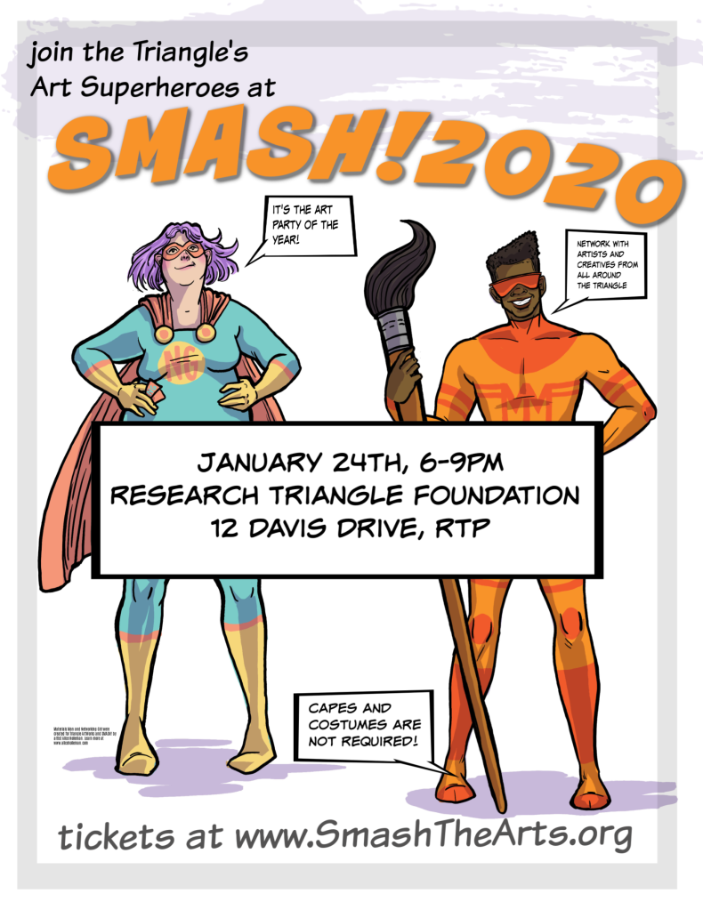 profile pictures, instagram graphics and downloadable posters for SMASH! annual artist networking party sponsored by Triangle ArtWorks in North Carolina